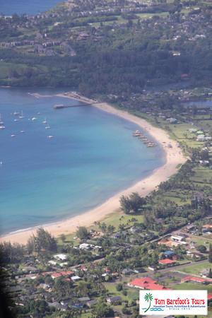 Hanalei Bay As Seen From The Air.  Note the Hanalei River on Top of Photo