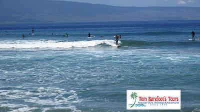 "Surfing ""the point"" at Kaanapali"