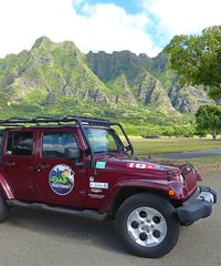 Jeep Wrangler Unlimited, Four doors, Tour takes guests on half or full day excursions of Oahu