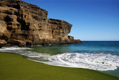 Here's a beach of a different color!  Hawaii's famous 'Green Sand Beach'.