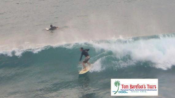 Surfing at Honolua Bay (Jake Barefoot in photo)