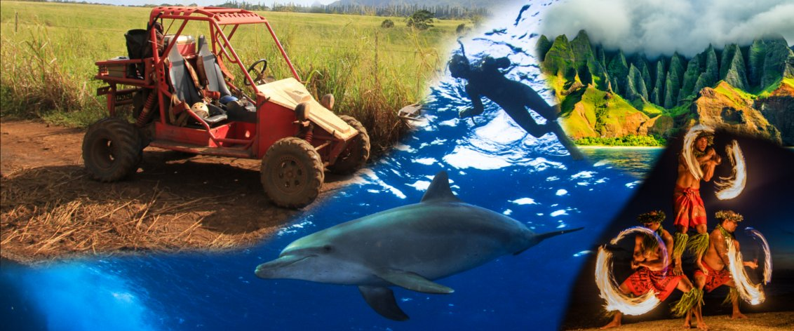 What are the 10 most popular categories of Kauai Activities and Kauai Tours on the island?