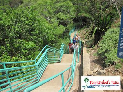 Staircase descending to Makule'ia Beach