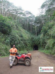 ATV through a sugar cane tunnel